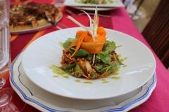 Salade de Quinoa, vinaigrette de poivron rouge, ruban de jeune  carotte primeur